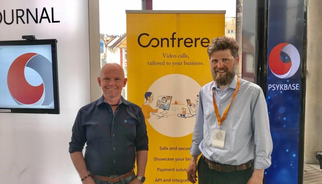 Geir Samland fra AspIT / PsykBase sammen med Svein Willassen i Confrere. Foto: Confrere.