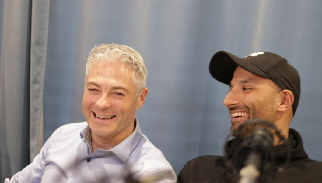 Salvador Baille fra Intelis og Israr Khan fra Aprila Bank. Foto: Lucas H. Weldeghebriel