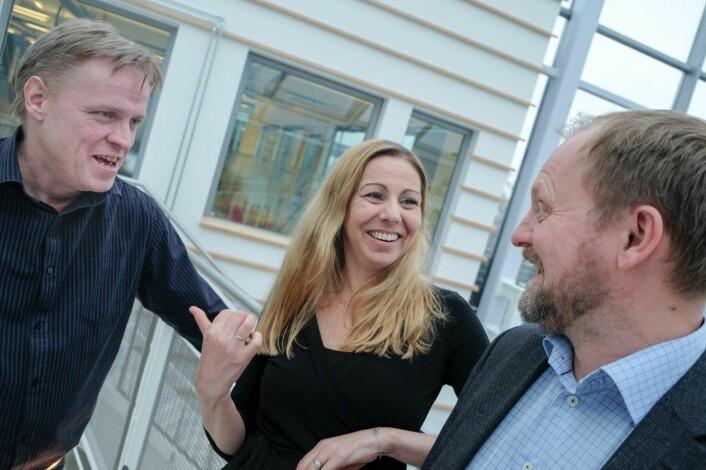 Utvikler Steinar Haugen, forsker, Heidi Frost Eriksen og gründer Gunnar Rye Bergersen i Technebies. Foto: Vilde Mebust Erichsen