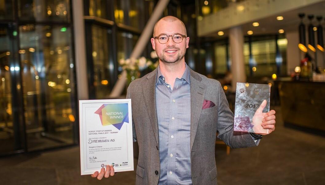 Roger Olsen i Dyrekassen gikk til topps under den norske finalen av Nordic Startup Awards i 2017. Foto: Olga Shavrina/Nordic Startup Awards