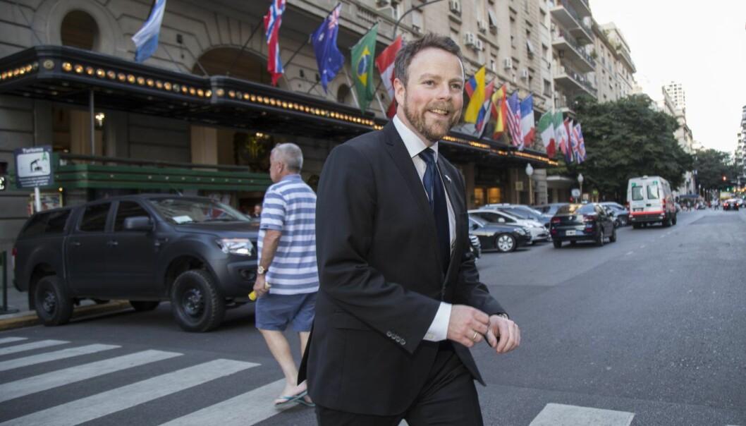 Næringsminister Torbjørn Røe Isaksen (H), her i Buenos Aires i forbindelse med et statsbesøk til Argentina. Foto: Heiko Junge / NTB scanpix