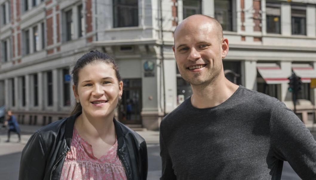 Maja Adriaensen og Knut Wien utenfor OHOI -- Oslo House of Innovation. Foto: Benedicte Tandsæther-Andersen