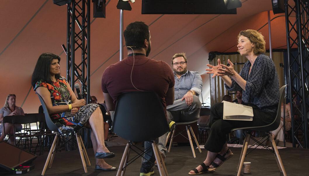 Paneldebatten rørte ved flere temaer innen AI og etikk. Fra venstre til høyre: Beena Ammanath, Ali Shah, Jake Metcalf og debattens leder -- Silvija Seres. Foto: Benedicte Tandsæther-Andersen