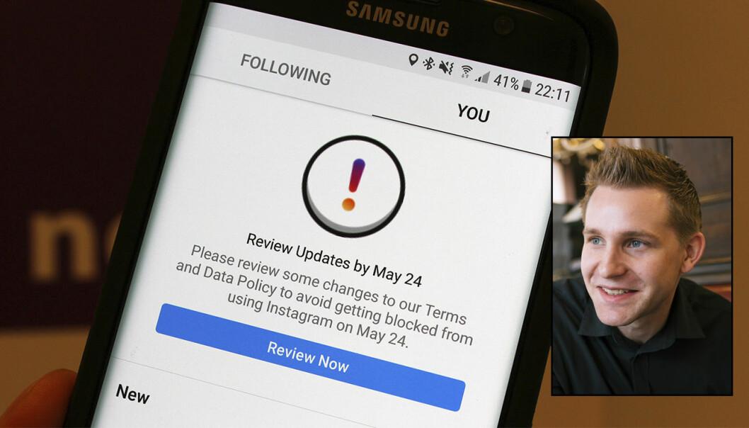 Max Schrems (innfelt), leder for det nystartede noyb.eu, sier at Facebook, Google, WhatsApp og Instagram allerede har blitt klaget inn for brudd på GDPR. Instagrams varsel om å godta deres retningslinjer er vist på det store bildet. Foto av instagram: noyb. Foto av Schrems: Lucas Beck