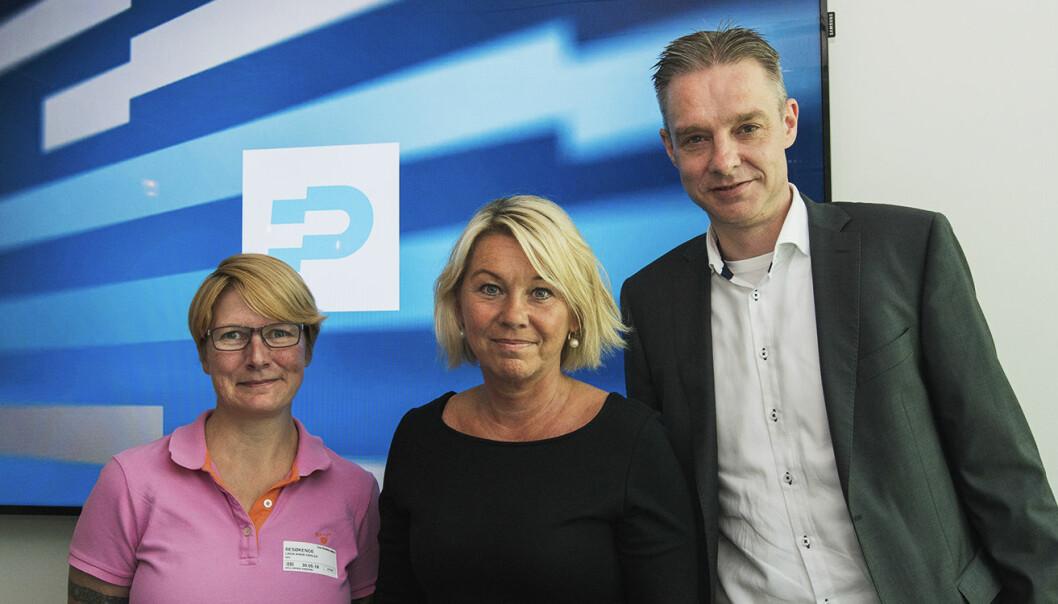 Linda Marie Skalde (økonomisk rådgiver/gjeldsrådgiver i NAV), Monica Mæland (kommunal- og moderniseringsminister) og Steffen Sutorius (direktør i Difi). Foto: Benedicte Tandsæther-Andersen