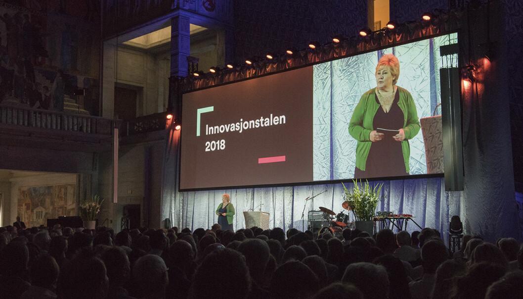 Statsminister Erna Solberg fikk i oppgave å åpne Explorer-programmet -- «Norges nye utstillingsvindu for grønne løsninger». Foto: Benedicte Tandsæther-Andersen