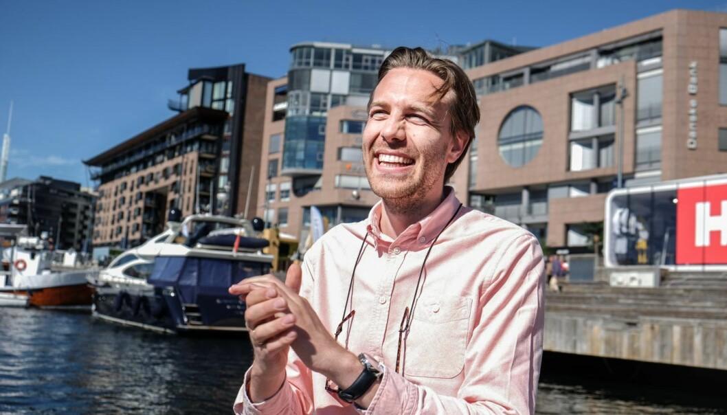 "Axel Sjøstedt, medgründer i Cloud Insurance ombord på Shifters ""sommerbåt"", EntreprenurShipOne. Foto: Vilde Mebust Erichsen"