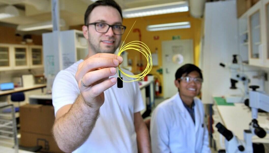 Daglig leder Nicolas Elvemo viser fram den fiberoptiske kabelen som føres inn i pasientens blodåre for å måle glukosenivå i sanntid. I bakgrunnen sitter kjemiker Jin Han. Foto: Rune Sævik