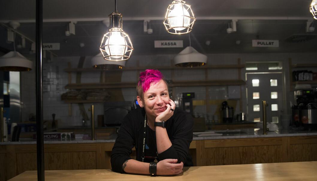 Anita Schjøll Brede på plass i Helsinki i forkant av sitt innlegg på Slush-konferansen. Foto: Per-Ivar Nikolaisen