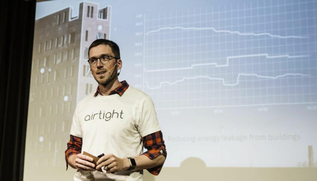 Airtight-gründer Per Magne Helseth er blant de som har fått støtte fra EUs Horizon 2020-program. Her under pitching på StartupLab nå nylig. Foto: Per-Ivar Nikolaisen