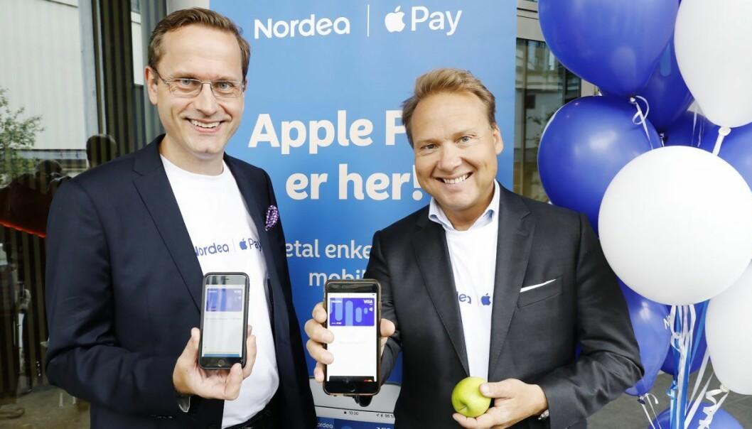 Snorre Storset, administrerende direktør i Nordea Norge og John Sætre, leder for privatmarkedet i Nordea Norge. Foto: Gorm Kallestad / NTB scanpix