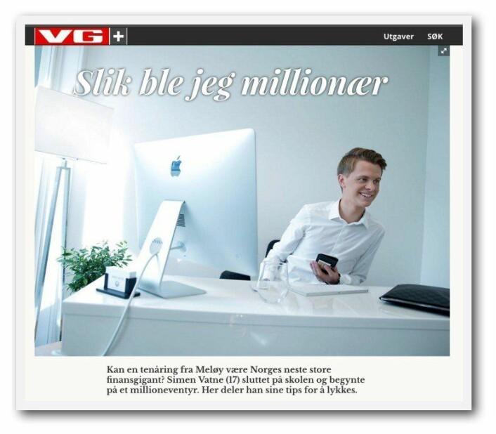 Simen Vatne har innsett at han snakket litt for høyt og stort i mediene under sitt forrige prosjekt AdSocial. Faksimile: VG