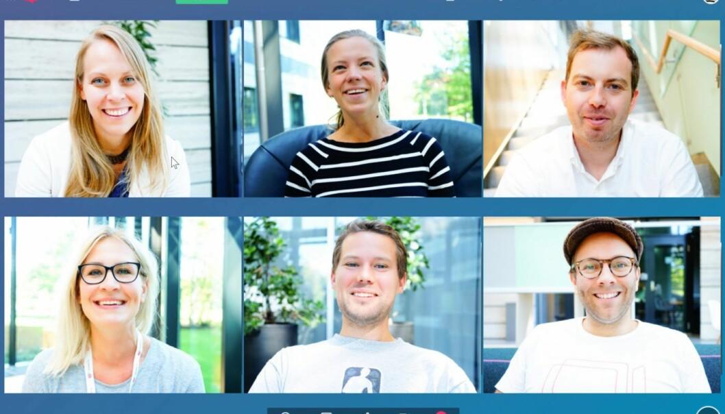 Appear.in-TEAMET: Øverst til venstre er daglig leder Ingrid Ødegaard. Foto: Appear.in.