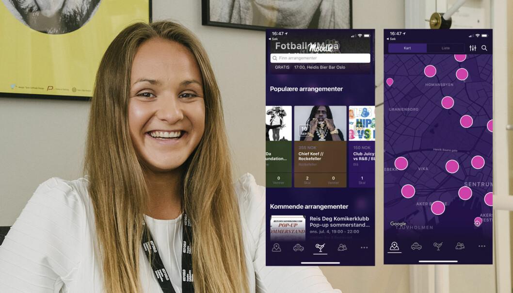 Fanny Ødegård startet Moodie helt alene, og har i dag et team på totalt fem personer, og 1500 brukere. Her med to skjermdumper fra appen. Foto: Benedicte Tandsæther-Andersen
