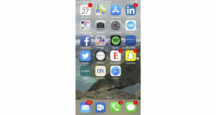 Anne Jorun Aas sin mobilskjerm.