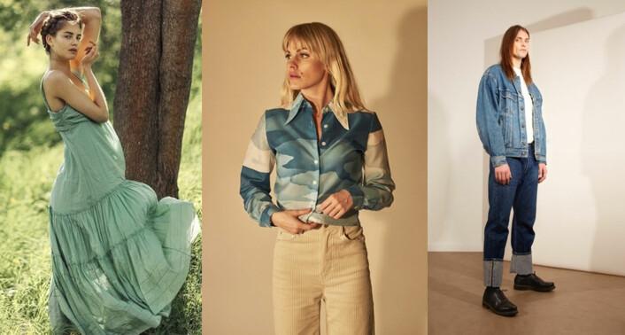 Tre av produktene Sobo Community hadde i sin onlinebutikk da saken ble skrevet: en kjole, en bluse og en jeansjakke. Foto: Ekko / Cream Collected / Malmöer Studios