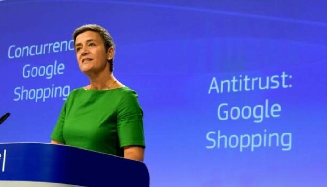 EU-kommisær Margrethe Vestager da hun ila Google en bot tidligere i år. Foto: EU Press Office