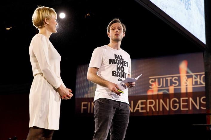 Carl-Nicolai Wessmann sammen med Sigrid Bonde Tusvik (t.v.) på Finansnæringens dag.