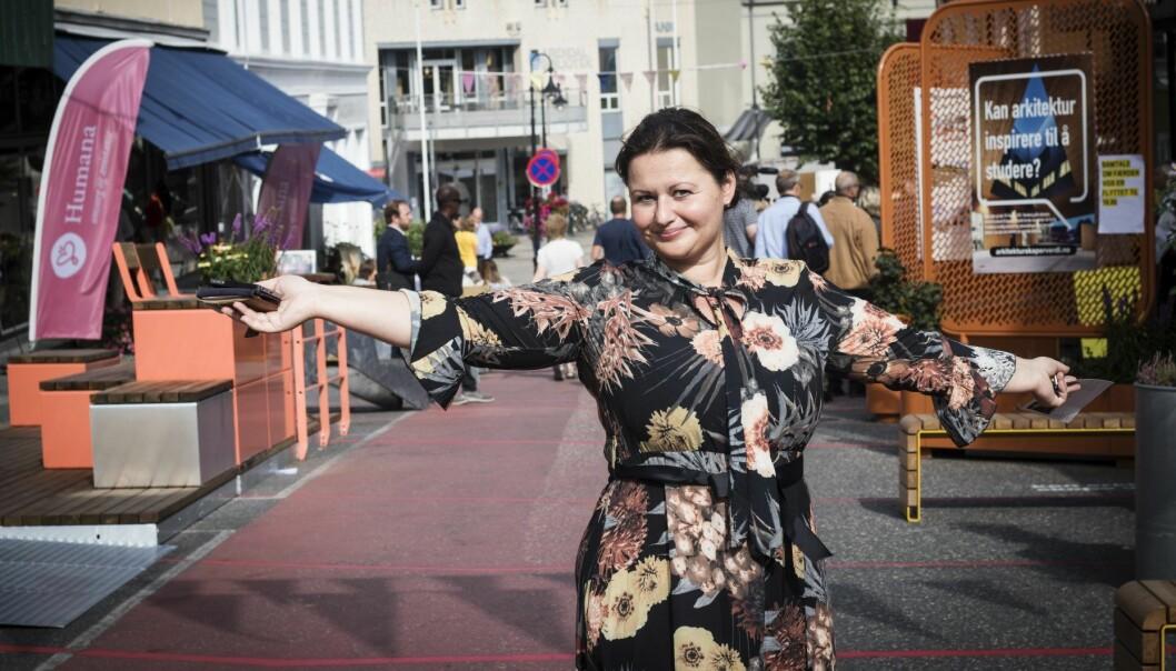 Ina Von Thurow i Fndr på plass under Arendalsuka. Foto: Per-Ivar Nikolaisen