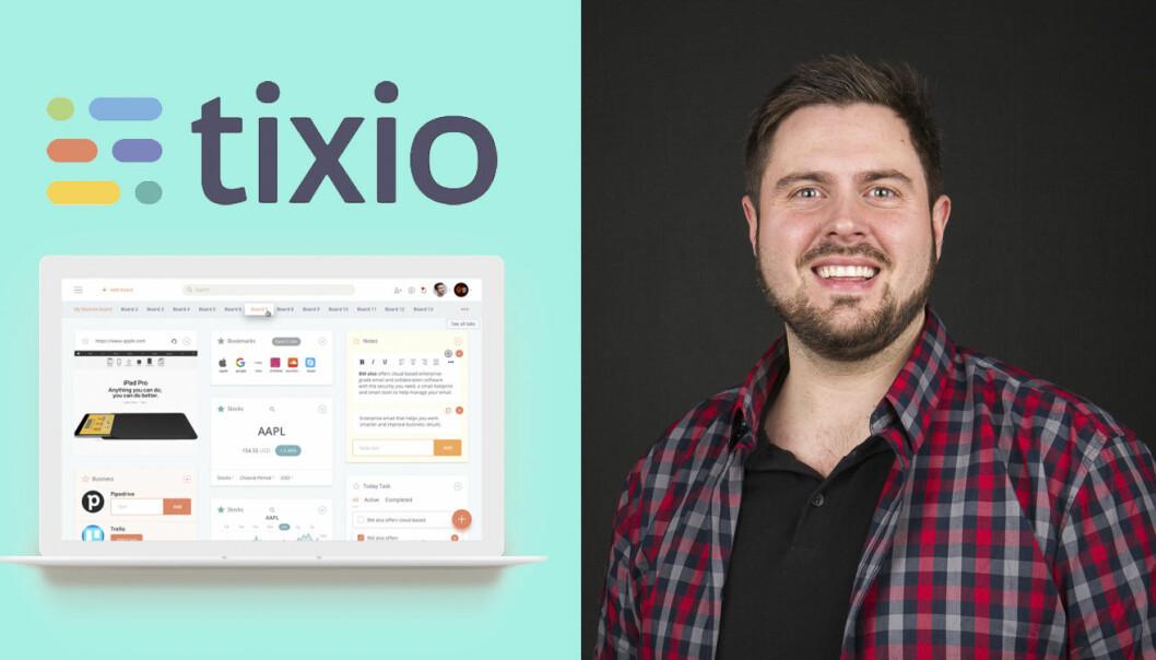 Torstein Gustavsen fra Tixio. Produktbildet på PC-skjermen viser hvordan en brukers spesialtilpassede Tixio-desktop kan se ut. Foto: Tixio