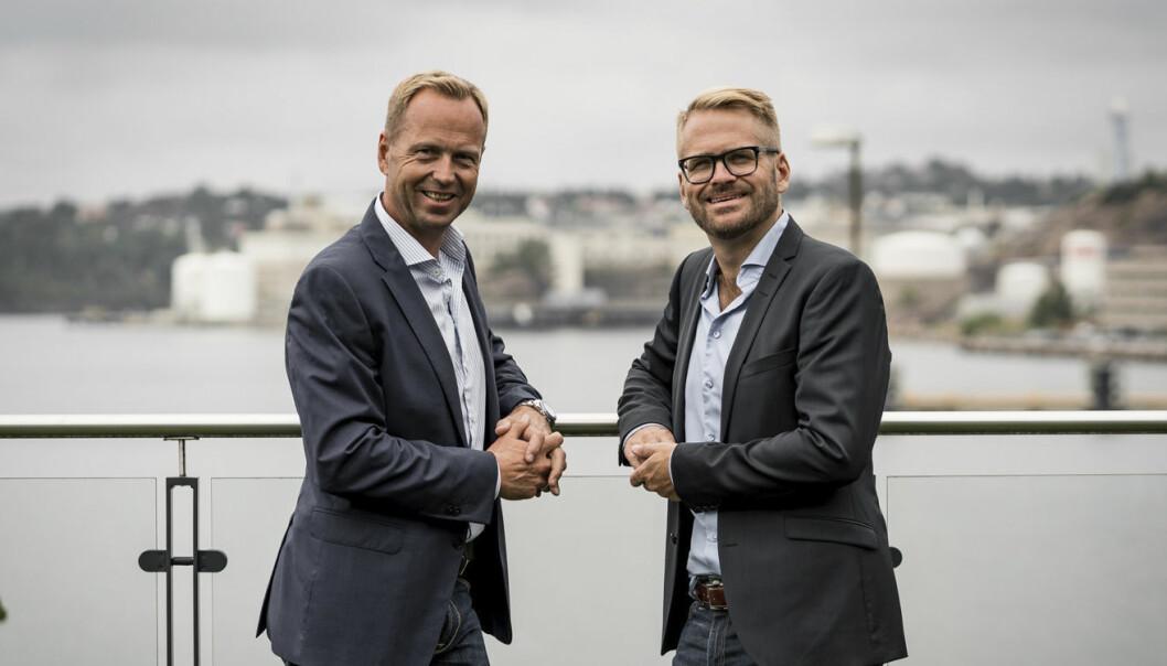 Den tidligere administrerende direktøren for Bilagos, Jan Høgetveit -- og den nye, Jardar Pedersen.
