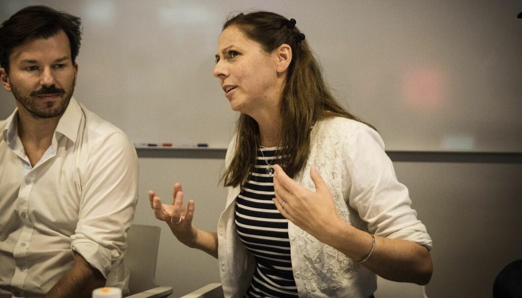 Heidi Frost Eriksen vil at flere store selskaper skal samarbeide med startups. Her under et møte på StartupLab der flere gründere møtte næringsminister Torbjørn Røe Isaksen. Foto: Per-Ivar Nikolaisen
