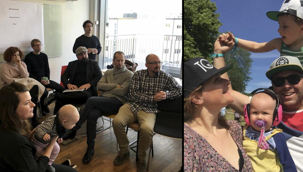 Venstre bilde: Åste deltar -- med barn på armen -- i et møte med andre i Payr. Høyre bilde: Åste, Espen og de to barna deres. Foto: Payr / Privat