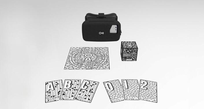 Ludenso sin MagiMask, med tilhørende MagiTile- og MagiDice-produkter. Hvert enkelt produkt brukes for å få AR-teknologien til å virke. Foto: Ludenso.