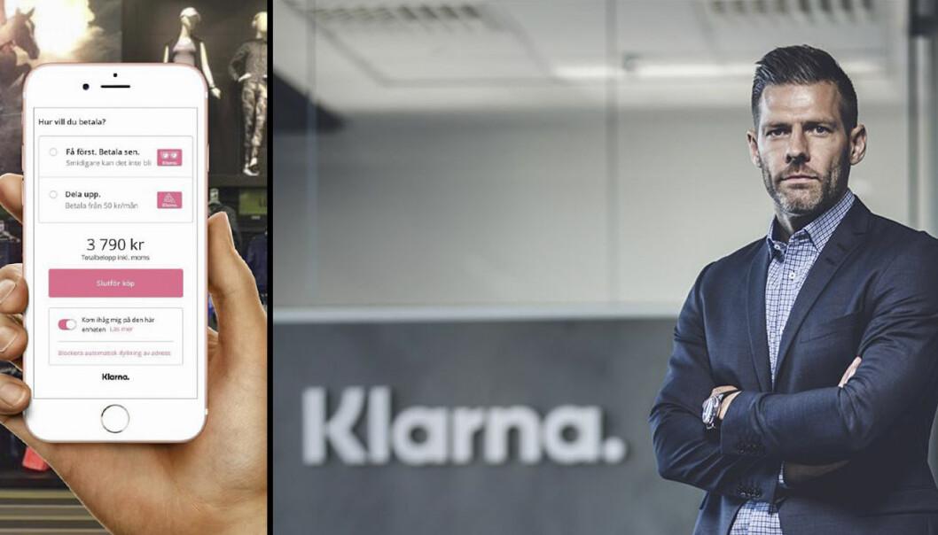 Venstre: Produktbilde av Klarna in-store. Høyre: Thomas Elvestad, markedsdirektør i Klarna Norge.