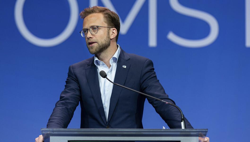 Utviklingsminister Nikolai Astrup, fotografert da han stod på talerstolen under Høyres landsmøte i 2018. Foto: Hans Kristian Thorbjørnsen