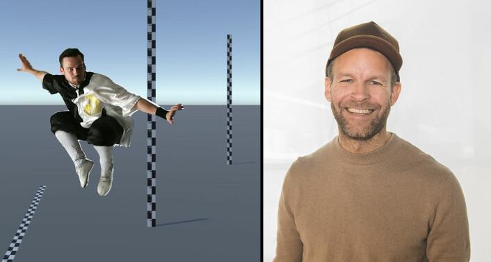 HoloCap-gründer Peder Børresen forteller at teknologien blant annet kan egne seg for å lære bort karate. Venstre bilde viser en karateinstruktør på en VR-bakgrunn laget av HoloCap -- en bakgrunn som for eksempel kan byttes ut med månen. Foto: Holocap / Benedicte Tandsæther-Andersen