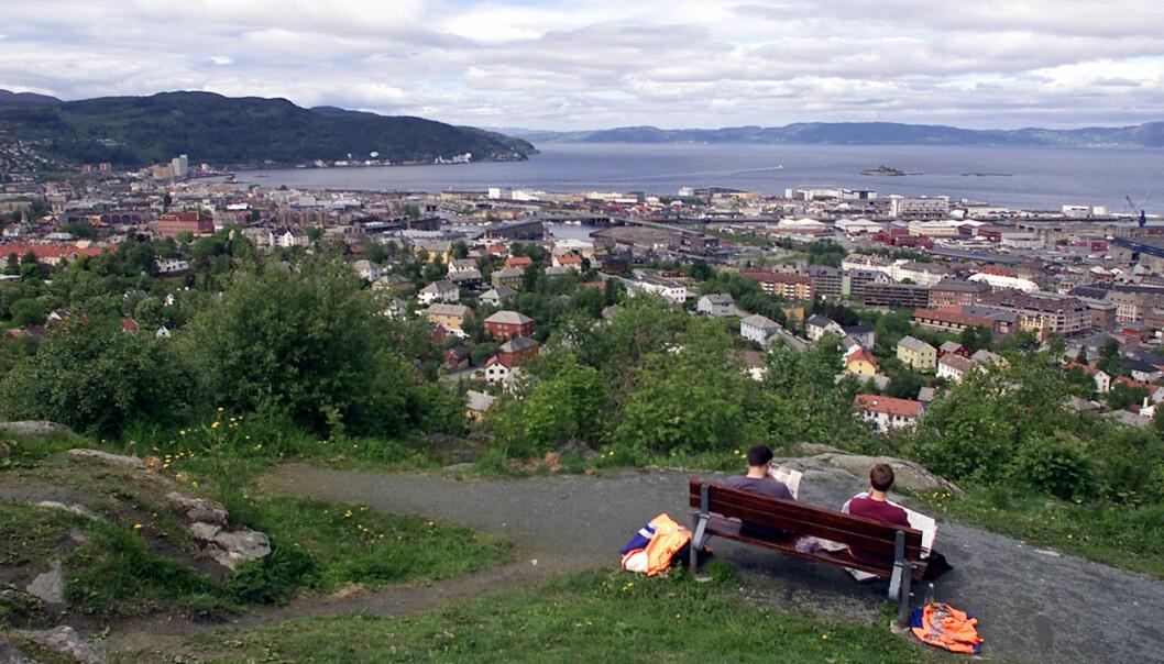 Trondheim sentrum, sett fra Tyholt. Foto: Gorm Kallestad, SCANPIX
