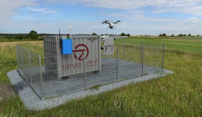 Landsdekkende dronenettverk: Sevendof utvikler et nettverk av autonome, langtrekkende droner og vil tilby droneflyging som en tjeneste til flere bransjer. Foto: Sevendof