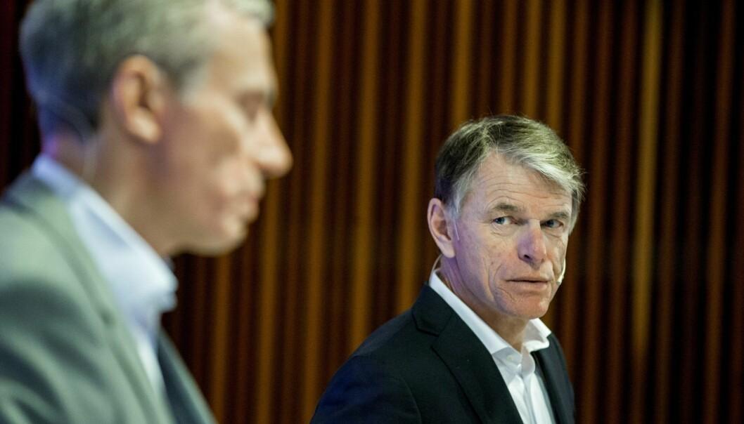 Trond Berger, konserndirektør for økonomi og finans i Schibsted - og konsernsjef Rolv Erik Ryssdal. Foto: Vegard Wivestad Grøtt / NTB scanpix