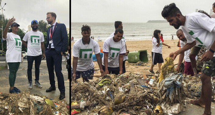 Venstre bilde: Frivillige ryddere for Empower snakker med Nikolai Astrup i forbindelse med en rydding av plast i Mumbai, India. Høyre bilde: Rydderne i India viser frem noe av plasten de har funnet. Foto: Empower