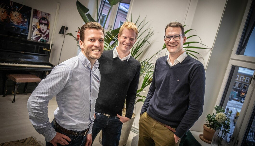 Ben Fischer (CEO), Erik Axel Nielsen (CTO) og Christoffer H. Isaksen (CCO) i Luca Labs. Foto: Vilde Mebust Erichsen