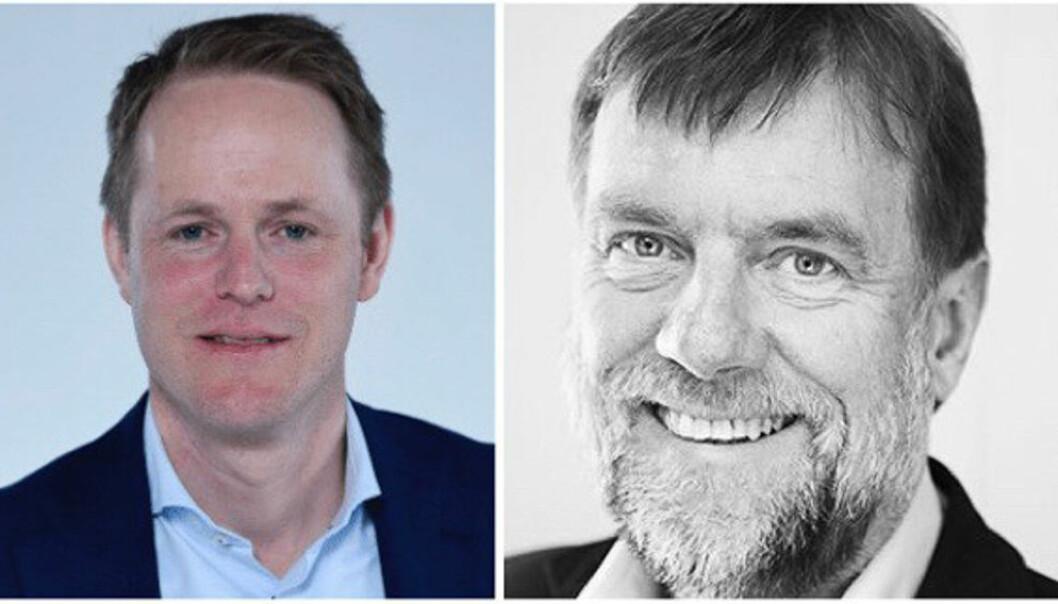 Daglig leder Øyvind Fries (t.v.) og styreleder Arnstein Hellem i Folkeinvest.