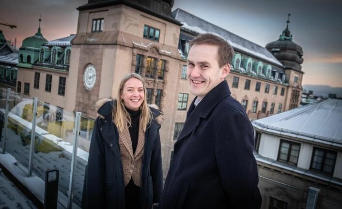 Kredittansvarlig Vilde Krogsrud og medgründer og daglig leder Geir Atle Bore i Fundingpartner. Foto: Vilde Mebust Erichsen
