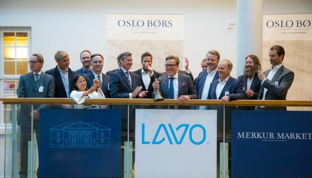 Bjellesermoni på Oslo Børs i sommer da Lavo TV gikk på børs, Tom Roger Sokki i midten. Foto: Thomas Brun / NTB scanpix