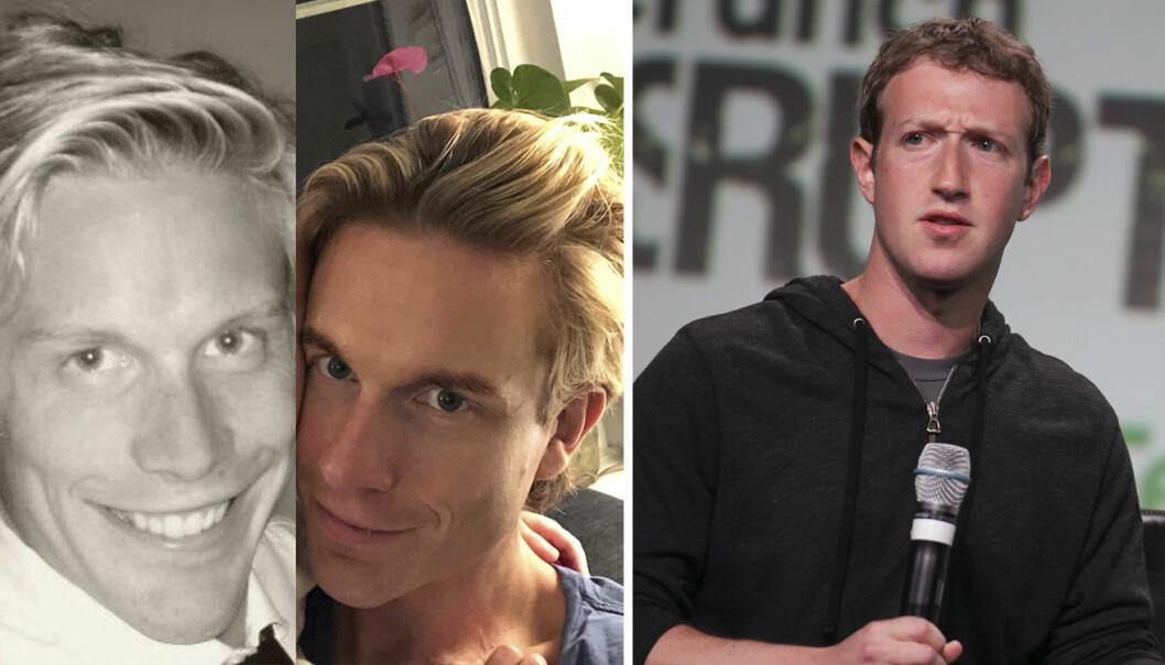 """Christoffer Hernæs sitt bidrag til """"10 Year Challenge"""" til venstre, og Mark Zuckerberg til høyre."""