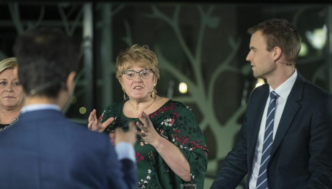 Gardermoen: Siv Jensen, Venstre Trine Skei Grande og Kjell Ingolf Ropstad under debatten på NRK. Foto: Vidar Ruud / NTB scanpix