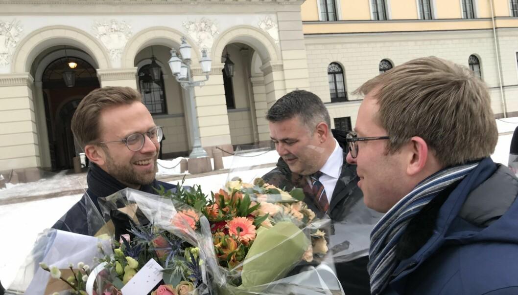 Abelia-sjef Håkon Haugli møtte ministeren på Slottsplassen tirsdag. Foto: Privat