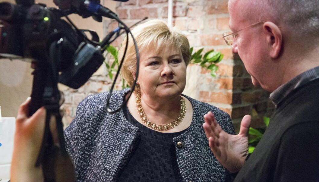 Erna Solberg i forbindelse med Telenors fremleggelse av rapporten Teknologi-Norge 2018.