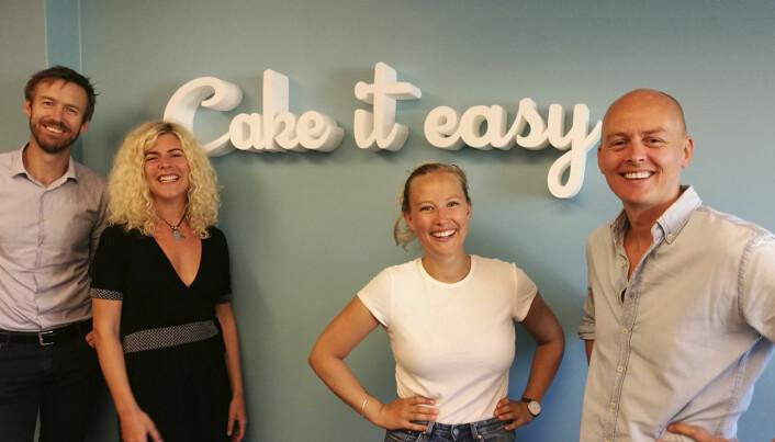 Cake it easy-teamet, fra venstre til høyre: Steffen Gausemel Backe, Hanna Erlandsson, Katharina Jens, Marius Sevaldsen. Foto: Press