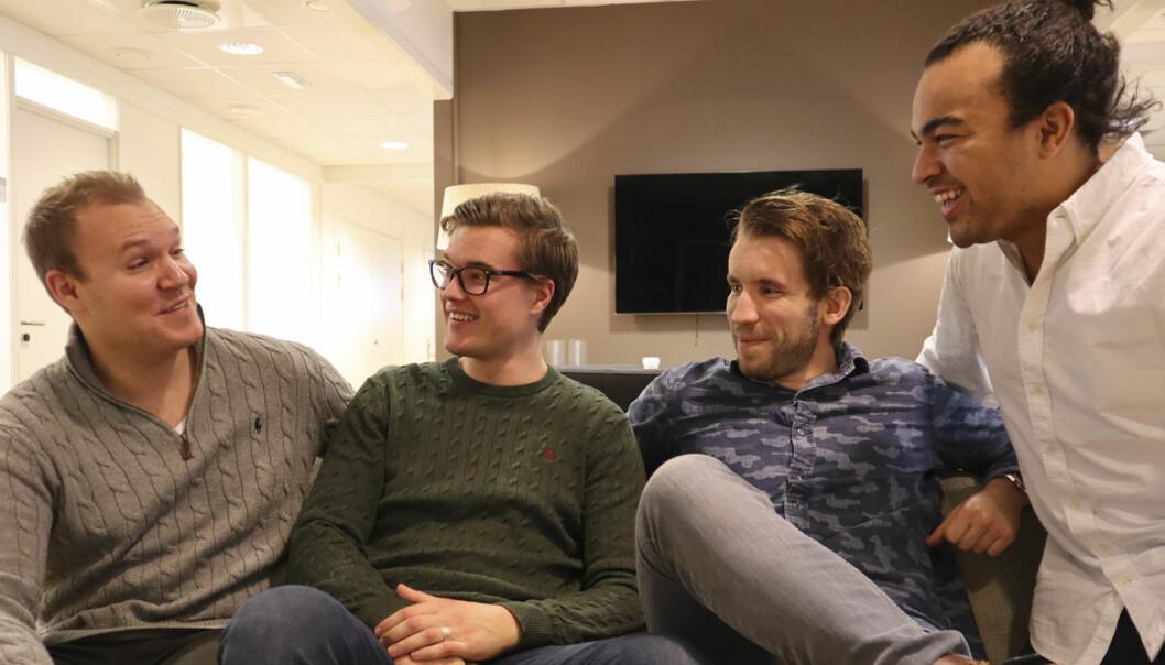 Zvipp-teamet, fra høyre til venstre: Haakon Magistad (Økonomiansvarlig), Eirik Thune (App-ansvarlig), Stas Milavski (Logistikk og Produkt-ansvarlig) og Sebastian Solberg (Markedsansvarlig). Foto: Zvipp