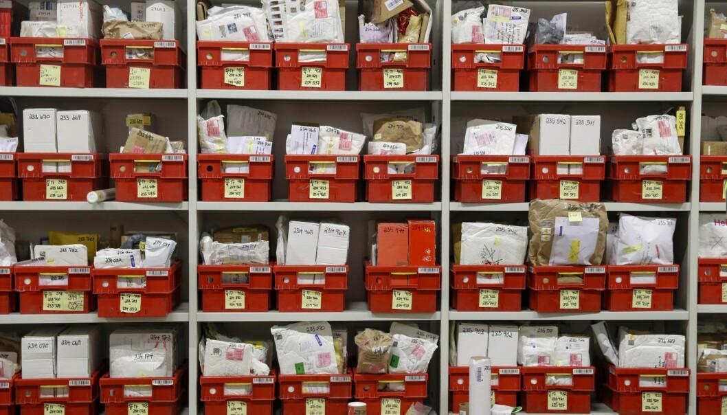 Postens ubesørgelighetsavdeling på Lørenskog. Foto: Cornelius Poppe / NTB scanpix