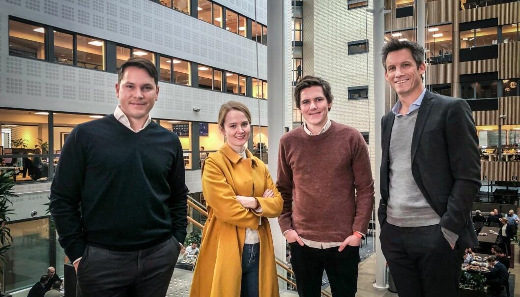 Fra venstre: Stefan Astroza (produktsjef, Cicero Consulting), Marit Rødevand (CEO, Mito.AI), Patrick Skjennum (CTO, Mito.AI) og Kristian Enger (konserndirektør, Itera). Foto: Privat