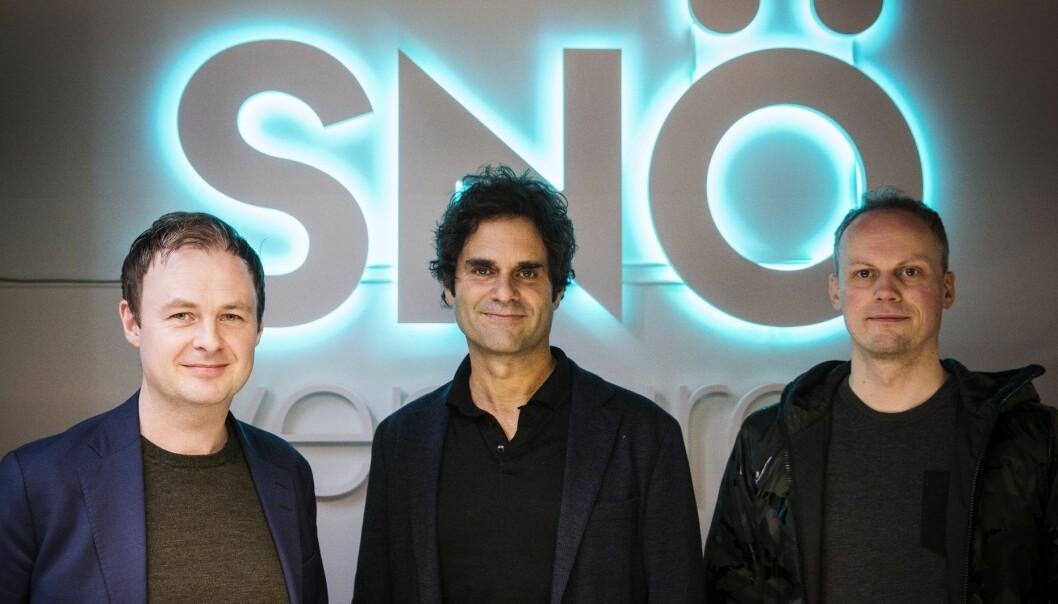 Magne Uppman (t.v.) og Teodor Bjerrang (t.h.) i Snö Ventures investerer i Odd Skarheim og Be Your Best. Foto: Per-Ivar Nikolaisen