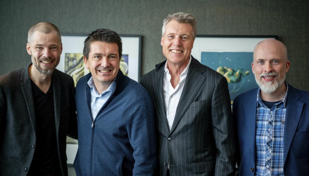 Fra venstre til høyre: Lars Petter Windelstad Kjos (CMO og gründer), Ole Robert Reitan, Dag Sørsdahl (adm dir Aller Media AS og konsernsjef Aller-Media konsern), og Rolf Risnes (CEO og gründer). Foto: Motimate