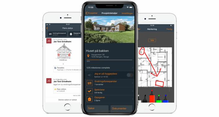 Skjermbilder fra Fonn sin app, som tar sikte på å gjøre kommunikasjon mellom håndverkere, men også håndverkere og kunder, enklere.